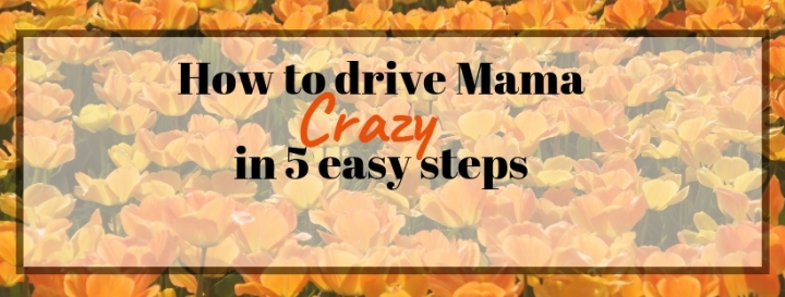 How to drive Mama crazy in 5 easy steps: Toddler Edition